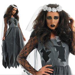Zombie Scary Cosplay Vampire Irregular Ladies Long Sleeve Halloween Dresses on Sale