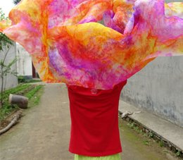 Wholesale Pure Silk Tie Dye Floral Belly Dance Silk Veil cm Hand Thrown Scarf Shawl Colorful Pink Blue