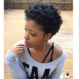 Discount ombre curly human hair wigs bang Afro Kinky Curly Ombre black color short bob style wig non simulation brazilian human hair short bob style wig with bang