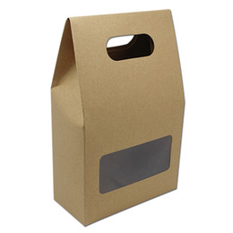 store windows UK - 20Pcs  Lot Brown Kraft Paper Portable Boxes Clear Window Design Baking Food Storage Package Paper Boxes for Cake Store Supplies
