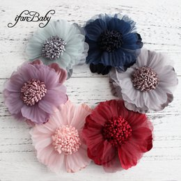 Fabric Hair Brooches Australia - Unfinished Artificial flowers craft flower for shoes brooch kids women hair accessories fabric flat back flower