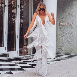 $enCountryForm.capitalKeyWord NZ - COSYGAL Sexy V Neck Jumpsuit Women Spaghetti Strap Zipper Party Night Jumpsuit Romper 2018 Summer Backless Tassel Playsuit