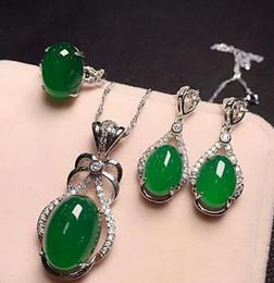 ac4e94a8e344 Joyería fina de plata 925 con incrustaciones de verde natural de calcedonia  ovalada Anillo Rop pendientes de tres piezas.