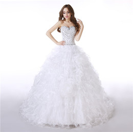 T Back Modern Wedding Dress UK - Layers Organza Ball Gown Wedding Dresses Major Beading and Sequins Top Lace-up Back Bridal Gowns Plus Size Wedding Dresses