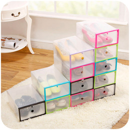clear shoes storage boxes NZ - 10pcs lot Transparent Shoe Boxes Clear Plastic Storage Box Packaging Boxes For Shoes For Men And Women
