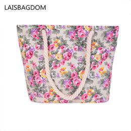 $enCountryForm.capitalKeyWord Canada - New Floral Printing Bag Women Handbags Canvas Lady Shoulder Bags Large Tote Ladi Fashion Bag Brand 2017 Woman Beach Handbag D18102407