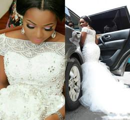 Chinese  Gorgeous Beads Crystal Ruffle Mermaid Wedding Dresses Nigerian Garden Country Dubai Arabia Plus Size Bridal Gown African Bride Dress Custom manufacturers