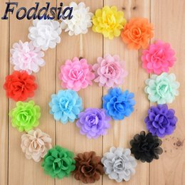 fabric ornaments for hair 2018 - Foddsia 40pcs lot 20 Colors Chiffon Flowers For Headbands 2