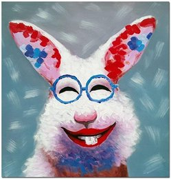 oil paintings rabbits UK - Animal Happy Rabbit HandPainted Modern Animal Square Wall Art Oil Painting Cartoon Animal Home Deco On Canvas.Multi sizes frame Options A141