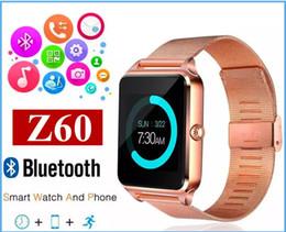 Bluetooth Smart Watch Sim Australia - Bluetooth Smart Watch Z60 Wireless Smart Watches Stainless Steel For IOS Android Support SIM TF Card Camera Fitness Tracker MQ100