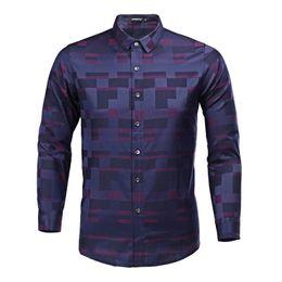 plus size white button down shirt 2019 - Men's Long Sleeve Plaid Slim Fit Button Down Dress Shirt Checked Style Male Causal Shirt Men's Clothing Plus S