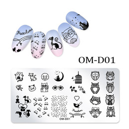 Owl nail art online shopping - 1pc Rectangle Nail Art Stamping Plate Lace Flower Owl Cat Bear Foot Prints Ice Cream Heart Line Manicure Polish Stencil New Gift