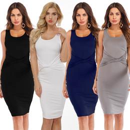 Hot Sexy White Dresses Australia - Women's Fashion O-Neck sleeveless Bodycon Sexy dress Sexy Clubwear party dress Hot style S M L white black gray dark blue