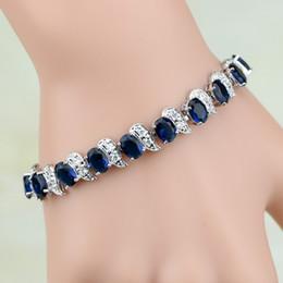 $enCountryForm.capitalKeyWord NZ - 925 Sterling Silver Jewelry Blue Cubic Zirconia White Cz Chain &Link Charm Bracelets For Women Free Gifts Box