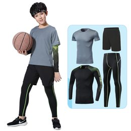 6d0edc4bf Kids compression running sets outdoor sport kit suit basketball soccer  football fitness shorts T shirts leggings pants underwear