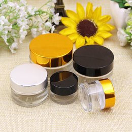 gold lids NZ - 5g 10g 15g 20g 30g Empty Amber Glass Cream Brown Glass Cosmetic Container with white Seal Black Silver Gold Lids