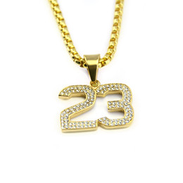 $enCountryForm.capitalKeyWord NZ - Hot sale Simple crystal basketball superstar Letter 23 pendent necklaces gold plated fancy necklace hip hop Jewelry accessories