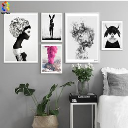 $enCountryForm.capitalKeyWord NZ - Nordic Cuadros Posters And Prints Black White Wall Art Canvas Painting Girl Picture For Living Room Scandinavian Home Decor
