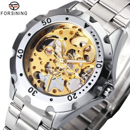 $enCountryForm.capitalKeyWord Australia - JARAGAR Steampunk Mechanical Watch Men Stainless Steel Strap Golden Skeleton Dial Gear Shaped Bezel Top Luxury Chic Wristwatches C18111601