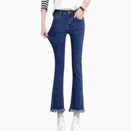 $enCountryForm.capitalKeyWord NZ - High waist black women jeans female spring blue slim thin jeans woman skinny denim bell bottom ankle length pants trousers