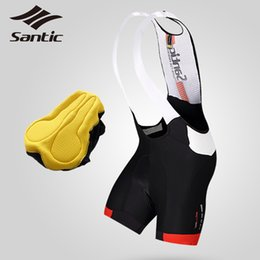 coolmax cycling Australia - SANTIC Men's Cycling Bib Shorts Summer Coolmax Gel Padded Profession Cycling Bib Shorts Tights Bike Bicycle MTB