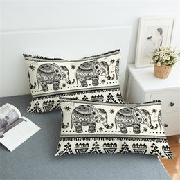 Discount white elephant gifts - the Elephant printing Fashionable personality white couple bedclothes pillow wedding gift home decoration