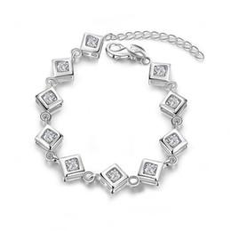 $enCountryForm.capitalKeyWord Australia - Square Bracelet sterling silver plated bracelet ; Hot sale fashion men and women 925 silver bracelet SPB387