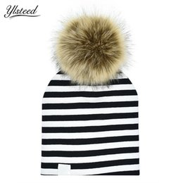 a986e36ff95 Cotton Stripe Baby Hat Faux Raccoon Fur Baby Boy Girl Hat Autumn Winter Pom  Pom Kids Cap Removable Fur Ball Cap Children Beanie