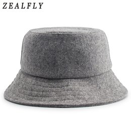 dca822b8c09 Autumn And Winter Skiing Keep Warm Woolen Fisherman Hat Men Hip Hop  Adjustable Solid Cap Women Wool Felt Bucket Hats