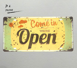 $enCountryForm.capitalKeyWord UK - DL-Come in OPEN License plate Vintage Tin sign shop coffee modern wall art sticker