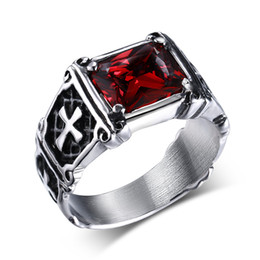 Punk Rings Australia - Mprainbow Vintage Mens Rings Stainless Steel Red Large Crystal Dragon Claw Cross Ring Band Gothic Biker Knight Punk Jewelry 2017