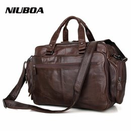 men leather tote bags 2018 - NIUBOA 100% Genuine Leather Bag Man Business Laptop Bags Big Euro Briefcase Many Offices Pockets Crossbody Shoulder Hand