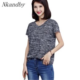 ca8c67bd103 Nkandby Plus size Short sleeve T shirts Summer Women Casual Loose Panelled  Round neck M-5XL Oversized Tops Simple Daily Tshirt