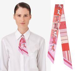 $enCountryForm.capitalKeyWord NZ - 2018 Hourse Plaid Stripes Print Small Scarf 86x5.5cm 100% Silk Ribbon Scarves Neckerchief Long Neckscarf Hair Riband Bag Handle Handbags