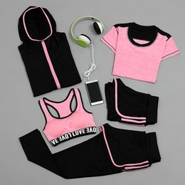 Barato Calças Curtas Leggins-Wholesale-Sports Suit Mulheres Running Set Outdoor Fitness Sport Bra T-shirt Calças Coat Short 5 Pieces Set Leggins Sport Women Fitness Sets
