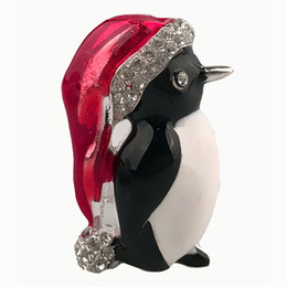 Gold Plates For Hats Australia - Fashion Christmas Vintage Penguin hat Pin Brooch New Year Women Men Kids Charm Gifts Shiny Crystal Christmas Brooches Pins For Christmas