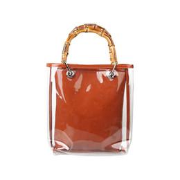 $enCountryForm.capitalKeyWord NZ - Hot Ins Women Handbag High Quality PVC Bag Transparent Jelly 2 Layers Shoulder Bag Original Design Unusual Vintage Bamboo Totes
