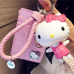 hello wallets NZ - fashion new card case key rings charms hand strap cute hello kitty cartoon pu leather bank id card holder 7 models 3 holders