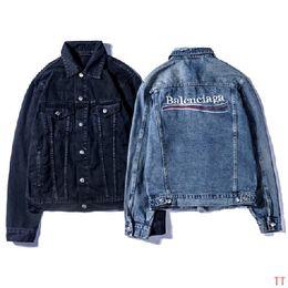 2018 Mode Luxus Winter Herbst Männer Frauen Europa Paris Sinners Vintage Jeans Jacke Street Coat Dicke Jeansjacke im Angebot