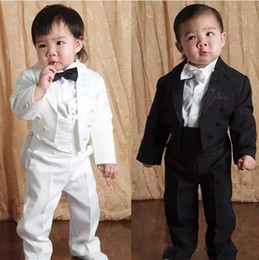 Navy blue tail suit online shopping - Hot Two Pieces Clothing Set Jacket Pant Baby Boys Tail Coat With Colour Black And White Kids Formal Suits For Wedding Occassion
