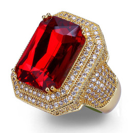 brass bottom NZ - Factory Bottom Price Red Gemstone Men Women Ring Fashion & Hip-hop Style Wide Wedding Band Red Ruby Ring Shining CZ Iced Out Bijoux