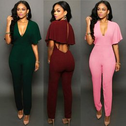 Women Jumpsuit Romper Playsuit Australia - Women Ladies Clubwear Hollow Playsuit Bodycon Party Jumpsuit Solid Color Romper Trousers