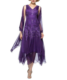 Chinese  Elegant Beads V-Neck Mother Formal Wear With Jacket Tea Length Mother of groom Wedding Guest Dress Evening Mother Of Bride Dress Gowns manufacturers