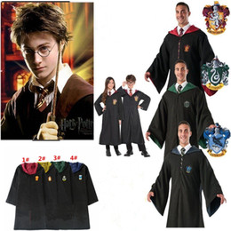 Uniform costUme cUstom online shopping - Harry Potter Robe Cloak Cape Cosplay Costume Kids Adults Unisex Gryffindor school Uniform clothes Slytherin Hufflepuff Ravenclaw MMA721 pc