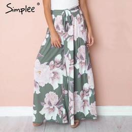 3683e34537f6 Simplee Sash floral print wide leg pants women Elastic loose boho casual pants  trousers Beach summer high waist pants female C18110901