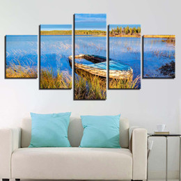Boat Landscape Oil Painting UK - Canvas Pictures Framework Home Decor HD Prints Posters 5 Pieces Blue Lake Boat Scenery Paintings Modern For Living Room Wall Art