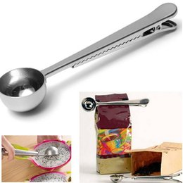 Discount metal food cans - Multi-function Stainless Steel Coffee Jelly Ice Cream Spoon Sealing Clamp Clips For Food Bag Silver Kitchen Tool Can Sel