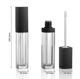 brush for bottle Australia - 10ml Empty Square Lip Gloss Tube Plastic Clear Lipstick Lip Balm Bottle Container with Lipbrush Black Cover for Travel and Home Use