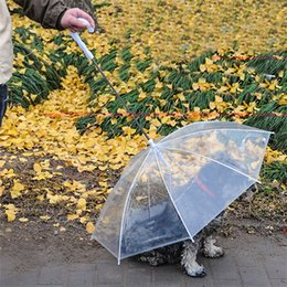 Small collar SuitS online shopping - Creative Pet Supplies Useful Transparent PE Dog Umbrella Suit Small Dogs Rain Gear With Collars Leads Keeps Pets Dry Outdoor jn Z