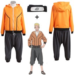 Wholesale naruto costume hoodie resale online - Asian Size Japan Anime Hokage Uzumaki Naruto th Halloween Cosplay Costume Uniforms Jacket Hoodie Casual Pants Full Set